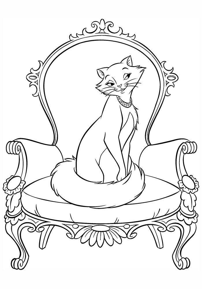 Раскраска коты аристократы Скачать ,Дисней, русалочка, Ариэль,.  Распечатать