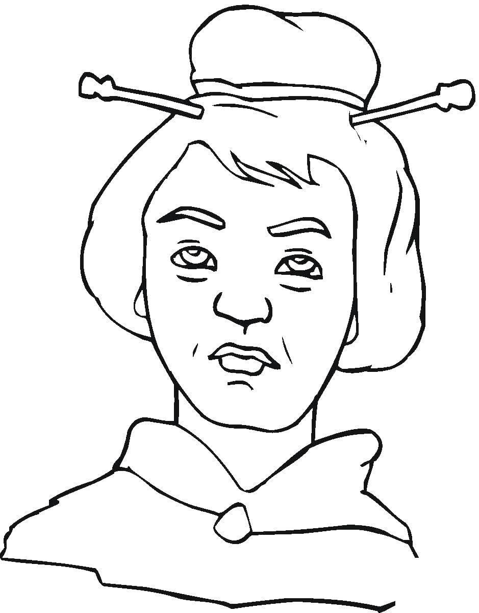 Раскраска Прическа с китайскими палочками Скачать прическа.  Распечатать ,прически,