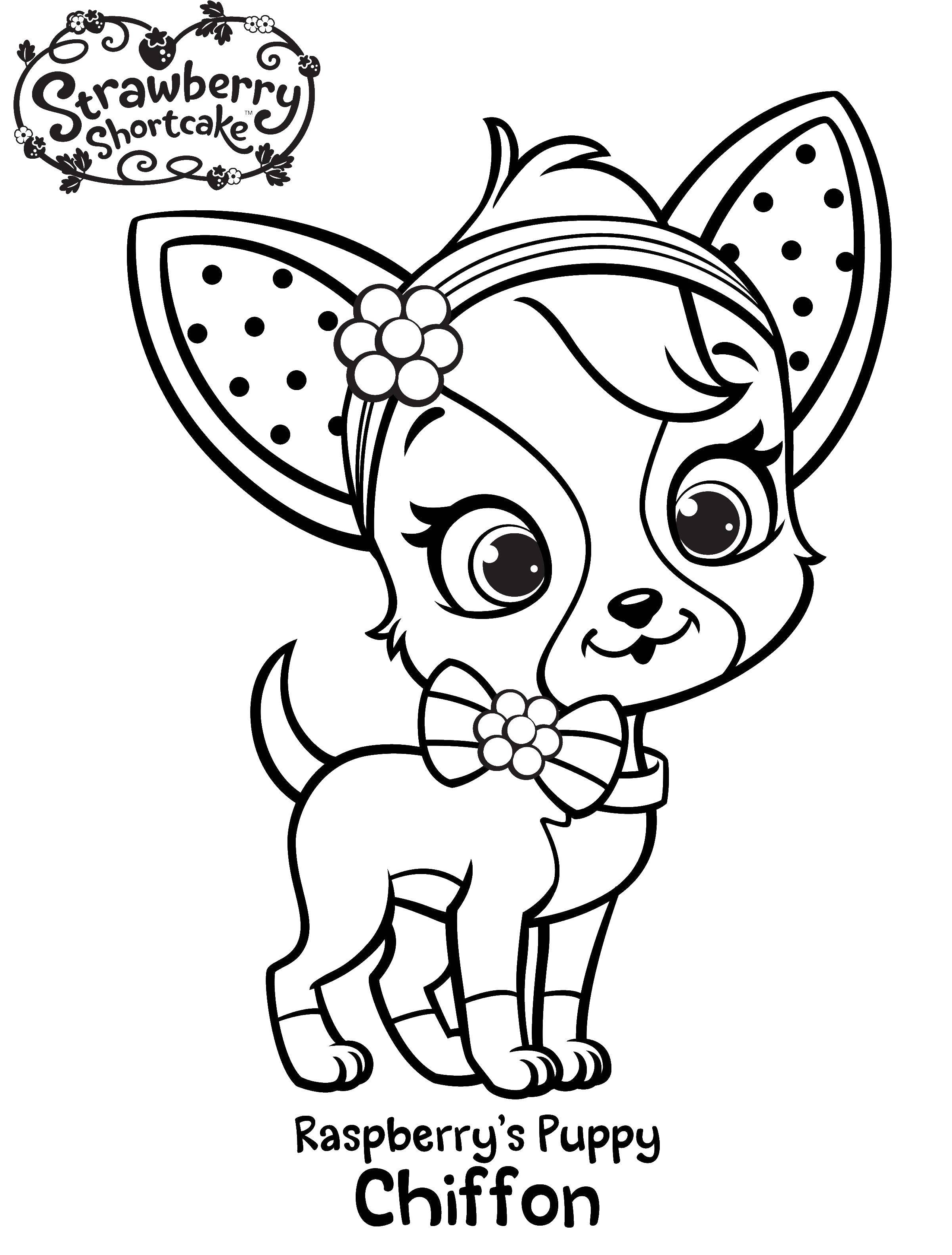 Раскраска Шарлотта земляничка щенок Скачать шарлотта, земляничка, мультики, собака.  Распечатать ,шарлотта земляничка мультики,