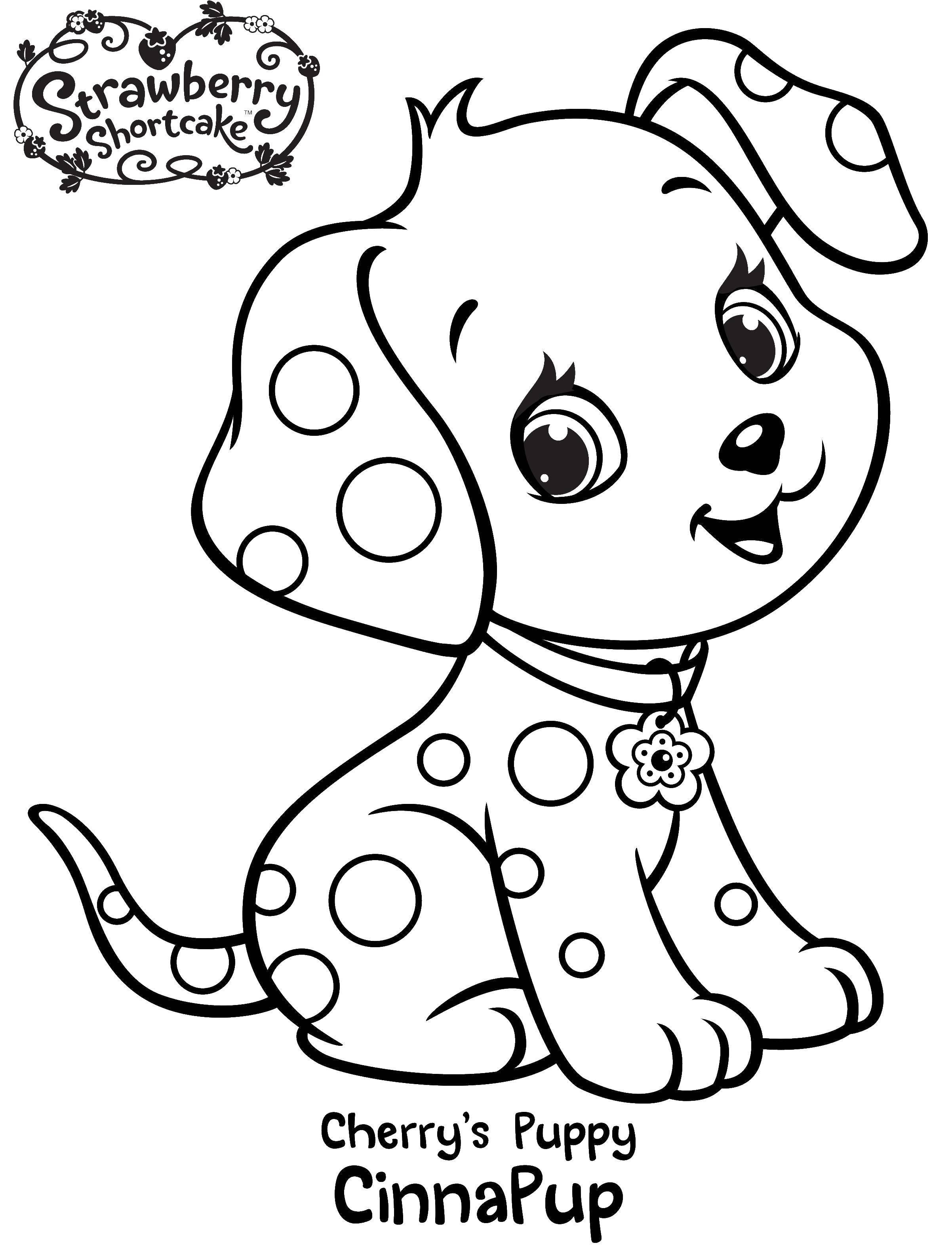 Раскраска Щенок вишеньки Скачать шарлотта, земляничка, мультики, собака.  Распечатать ,шарлотта земляничка мультики,