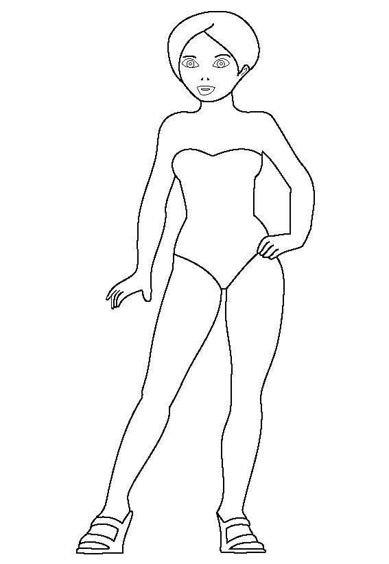 Раскраска Девушка в купальнике Скачать девушка, модель, купальник.  Распечатать ,модели,