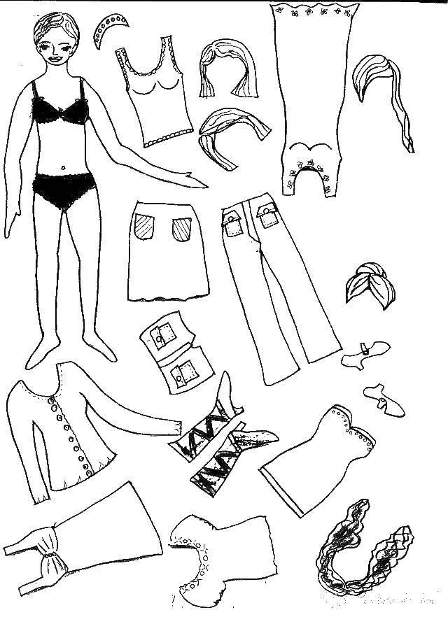 Раскраска Вырежи куклу и одень в джинсы поменяй прическу одень разную обувь или юбку с платьем Скачать вырежи и одень.  Распечатать ,одежда и кукла,