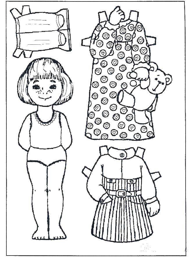 Раскраска Вырежи одежку для куклы платья и штанишки Скачать вырежи и одень.  Распечатать ,одежда и кукла,