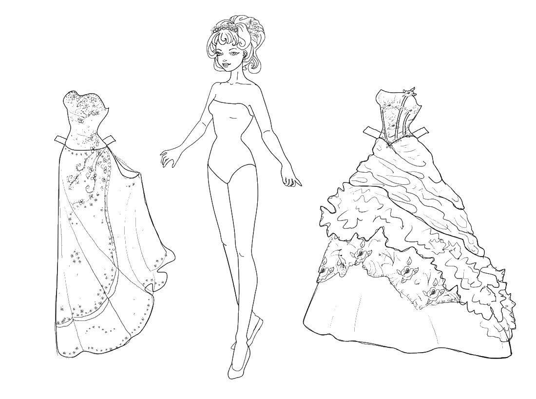 Раскраска Вырежи платья и одень куклу Скачать бальные платья, кукла бумажная.  Распечатать ,одежда и кукла,