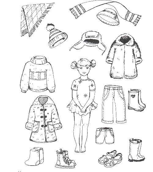 Раскраска зимняя одежда Скачать ,одежда, зима, девочка,.  Распечатать