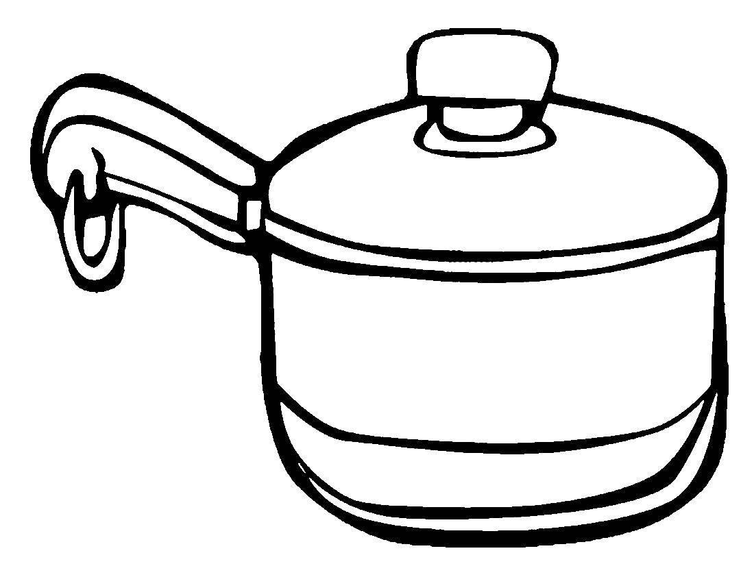 Раскраска кастрюля Скачать ,кастрюля, посуда,.  Распечатать