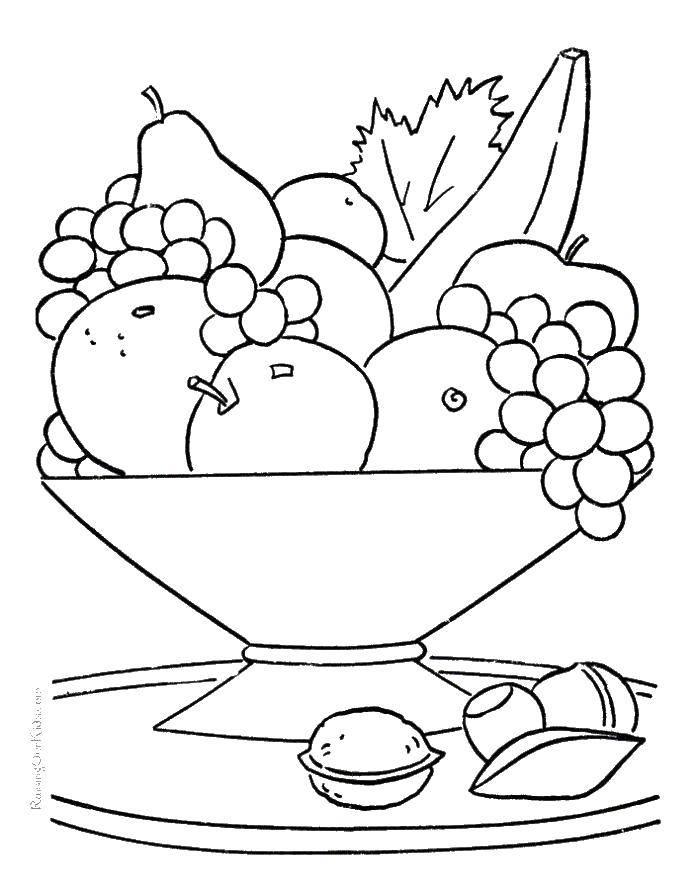 раскраски раскраска тарелка с фруктами тарелка скачать