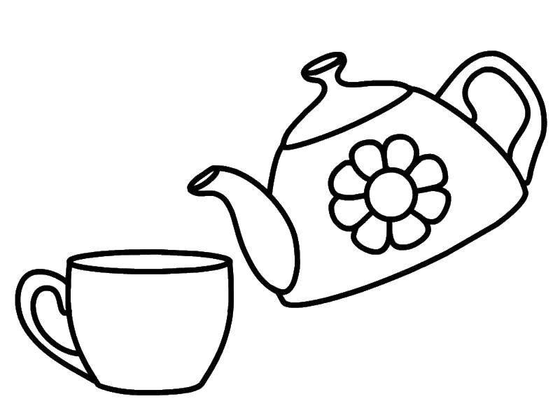 Раскраска посуда Скачать контур, мишка.  Распечатать ,Контур медведя для вырезания,