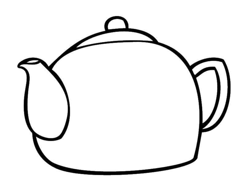 Раскраска Чайник Скачать посуда, чайник.  Распечатать ,посуда,