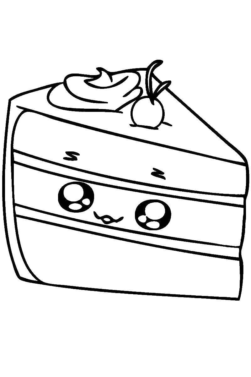 Раскраска Шопкинс тортик Скачать шопкинс, торт.  Распечатать ,раскраски,