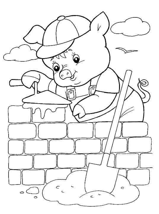 Раскраска Поросенок строит дом Скачать поросенок, волк.  Распечатать ,Сказки,