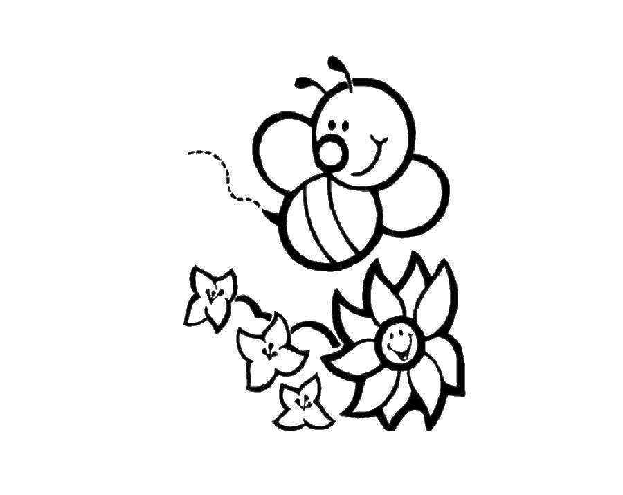 Раскраска пчела Скачать миньоны.  Распечатать ,мультики,