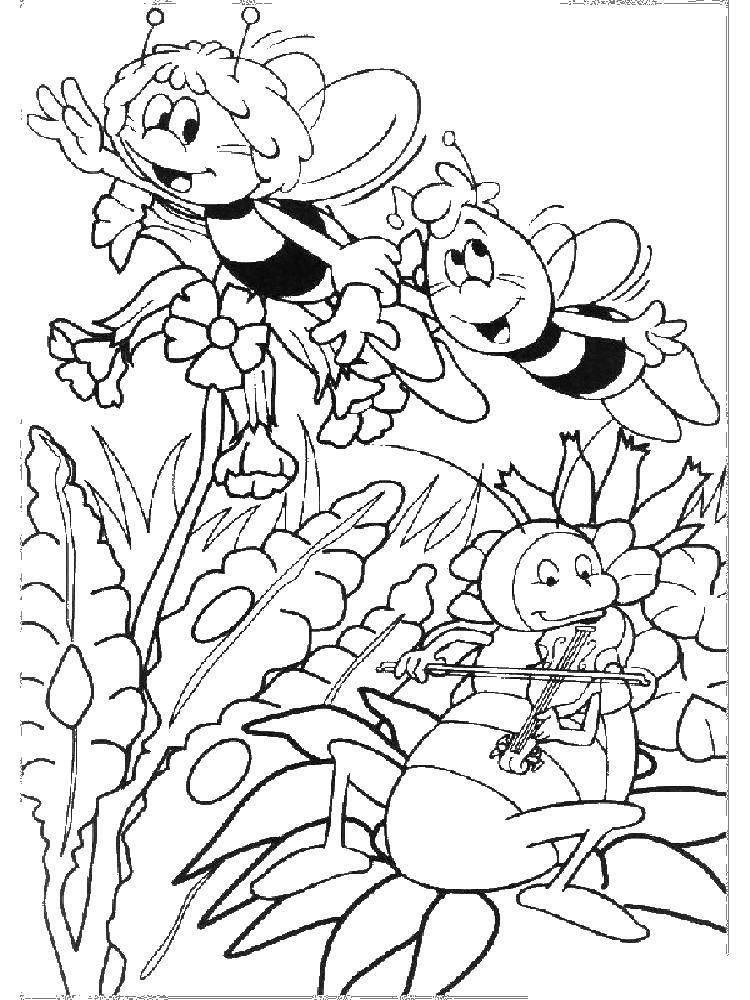 Раскраска Пчелка мая и вилли летают в лугу Скачать ,пчелка Мая, Вилли,.  Распечатать