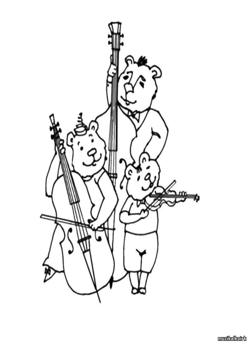 Раскраска Медведи музыканты Скачать медведи.  Распечатать ,Животные,