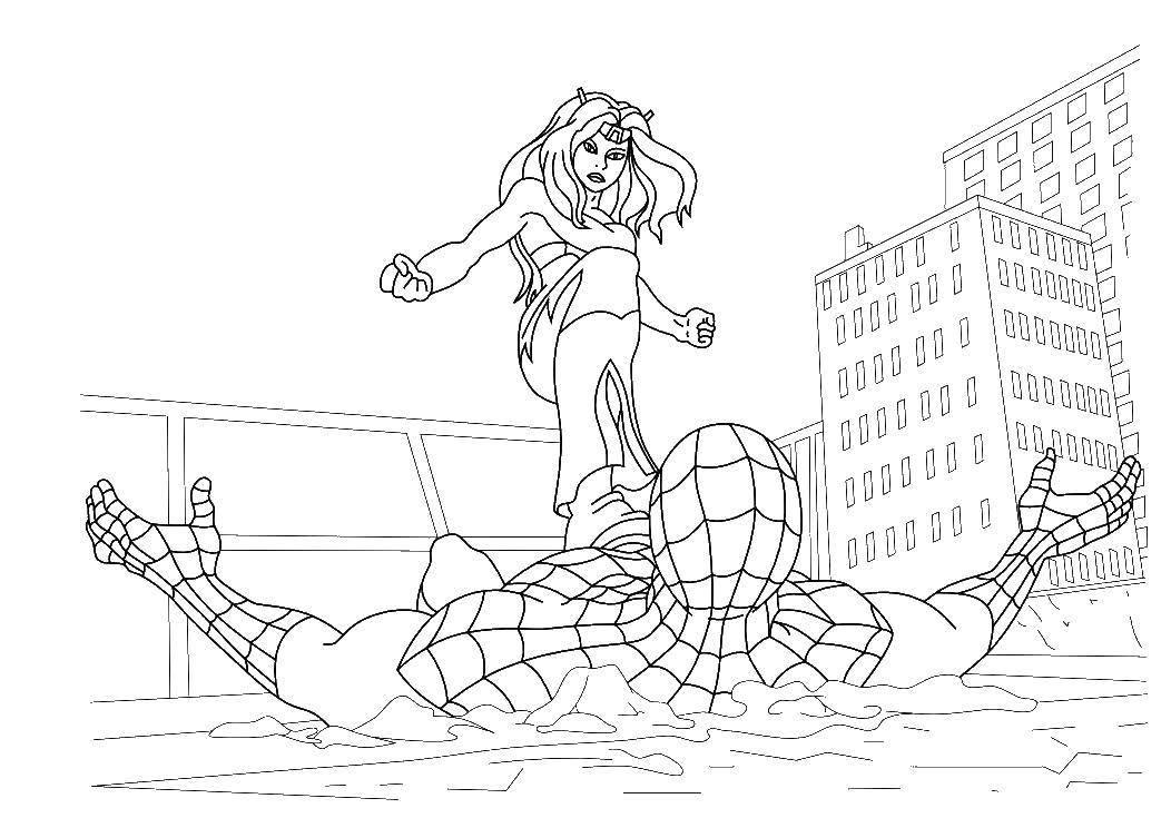 раскраски паук раскраска человек паук сражается с врагом