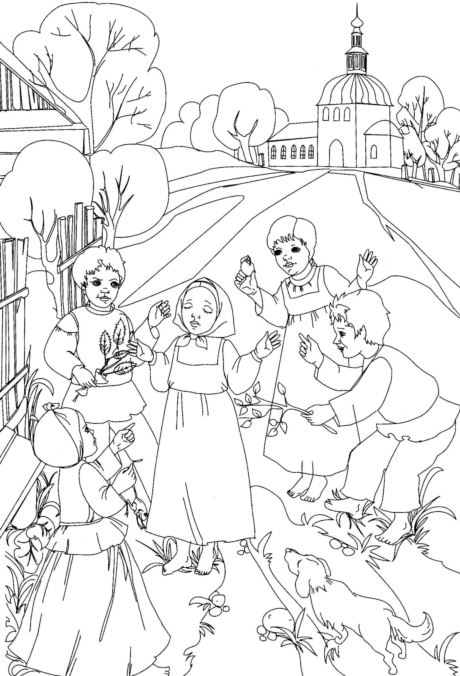 раскраски раскраска русская деревня раскраски