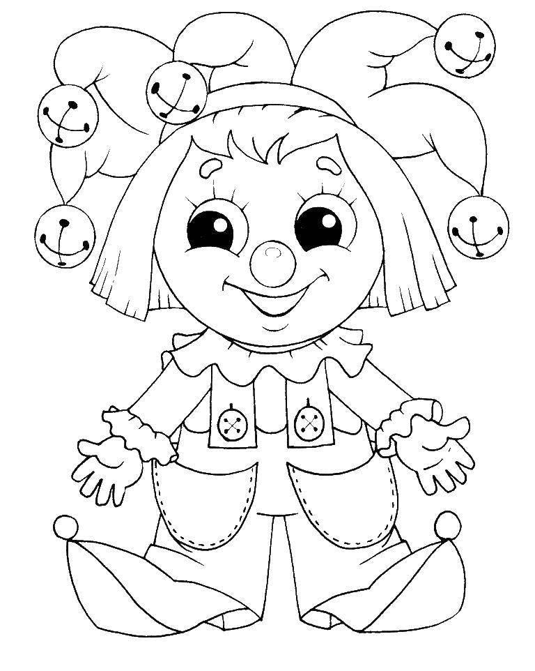 Раскраска Шут Скачать Клоун, цирк, радость, веселье.  Распечатать ,Клоуны,