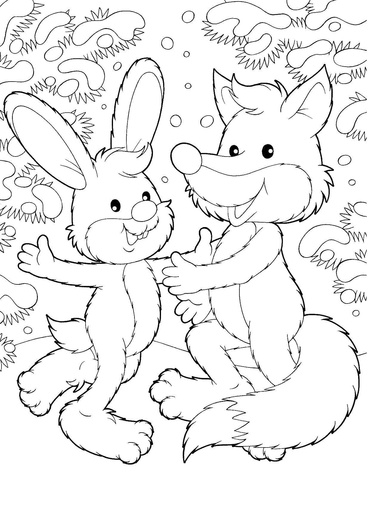 Раскраска Лиса и заяц у елки Скачать лисичка, зайчик.  Распечатать ,лисичка,