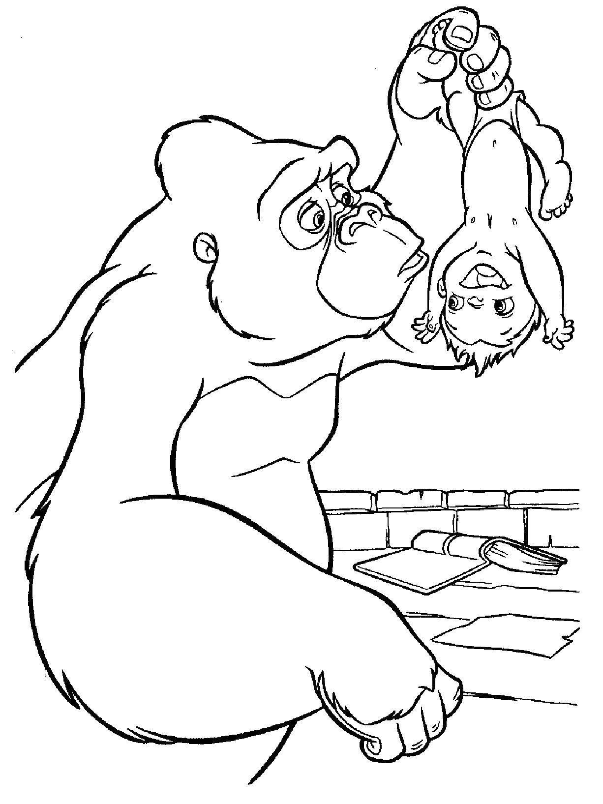 Раскраска Горилла нашла тразана Скачать ,горилла,тарзан,.  Распечатать