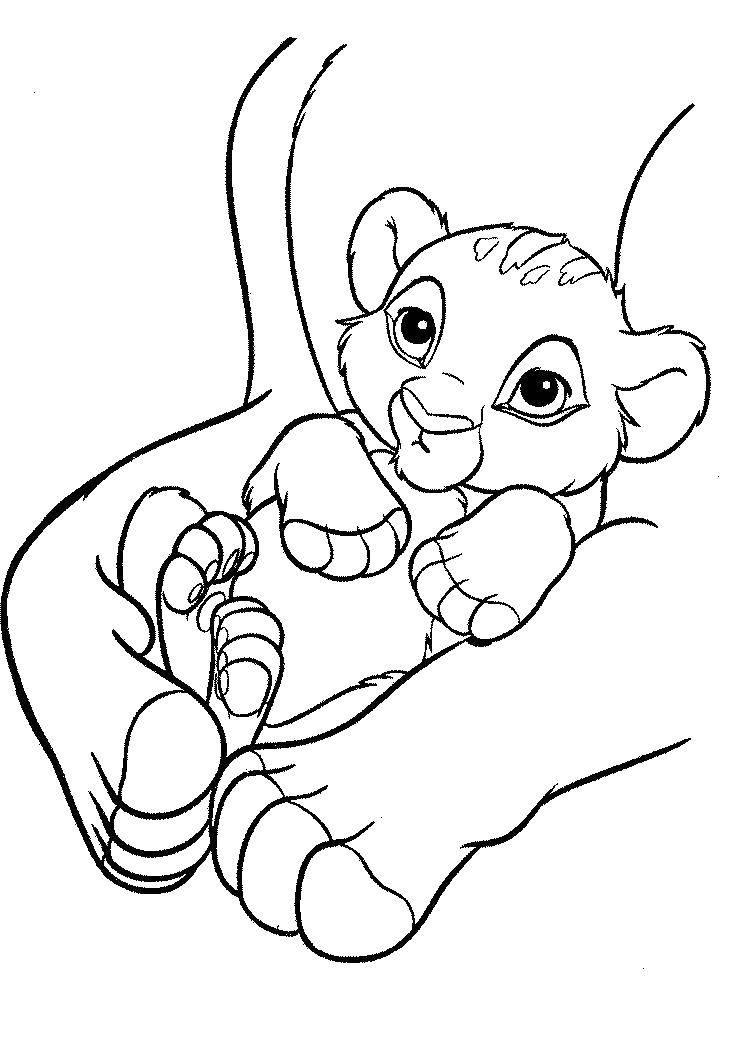 Раскраска Рождение львенка симбы Скачать ,король лев, мультик,.  Распечатать