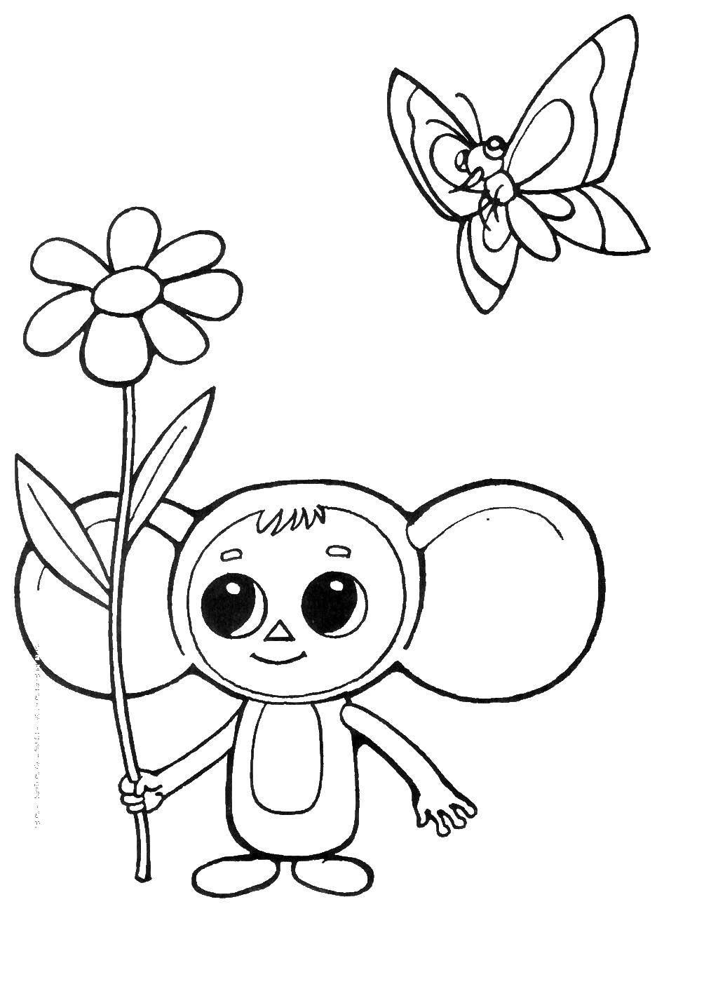 Раскраска Чебурашка с бабочками Скачать чебурашка, Гена.  Распечатать ,чебурашка,