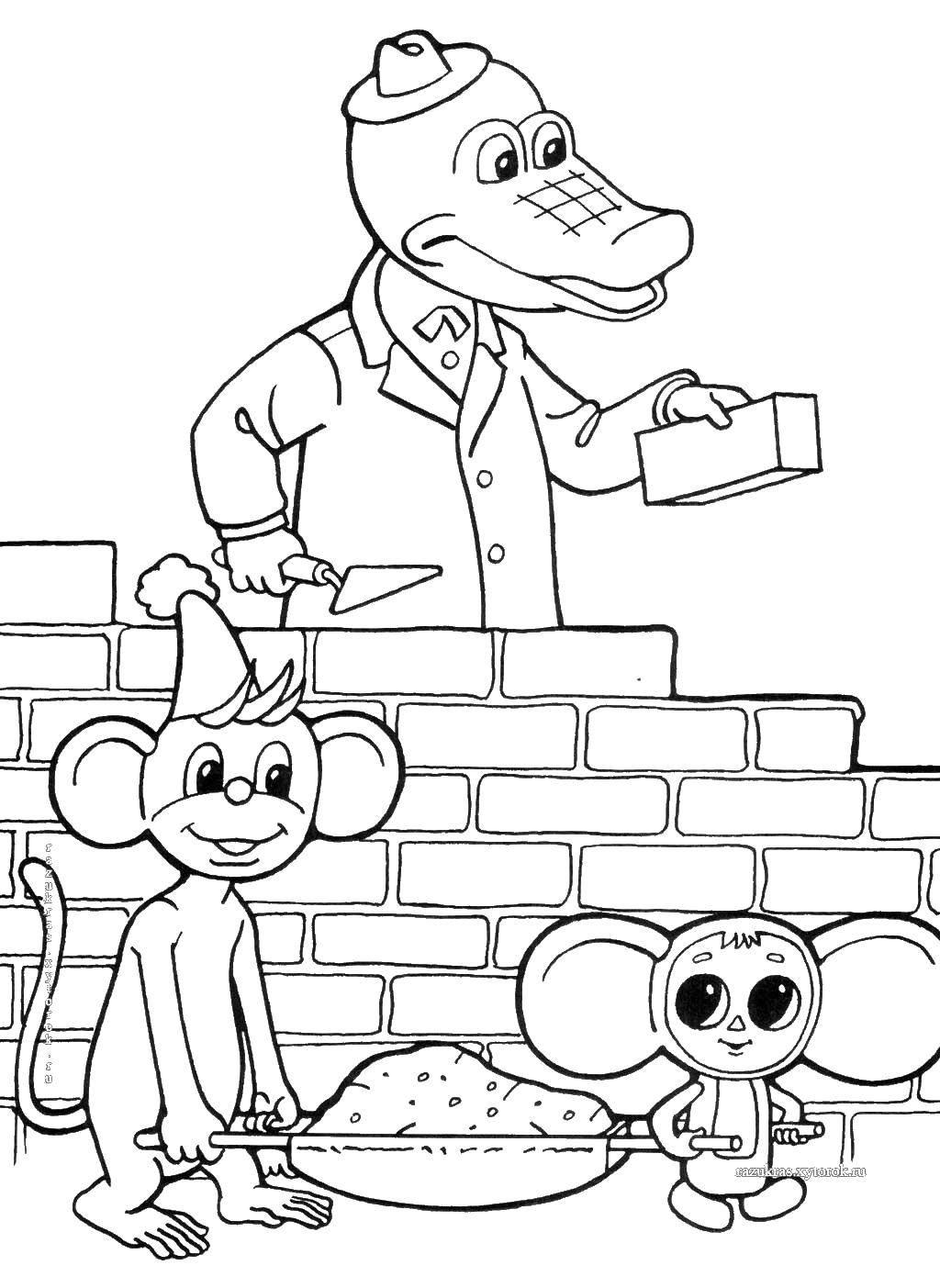 Раскраска Крокодил гена и чебурашка строят Скачать чебурашка, Гена.  Распечатать ,чебурашка,
