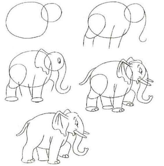 Раскраска Как рисовать слона Скачать рисунки, слон.  Распечатать ,дорисуй по образцу,