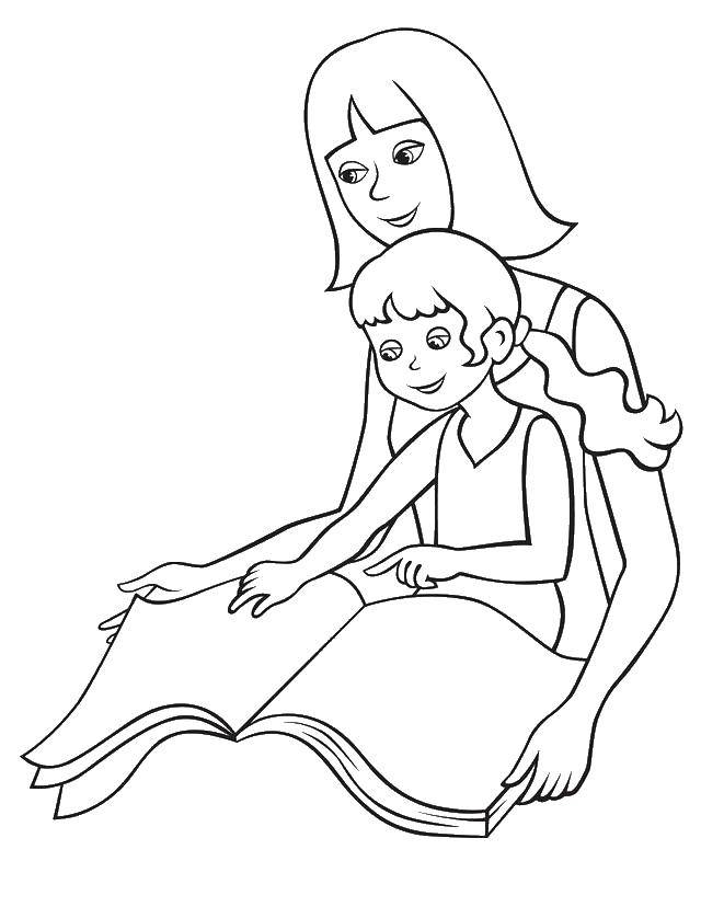 Раскраска Мама читает книгу дочке Скачать мама, ребенок, книга.  Распечатать ,мама с ребенком,