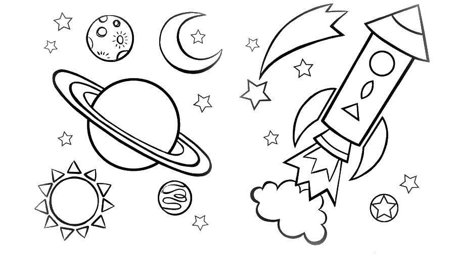 Раскраска Ракета и космос Скачать космос, космический корабль, шаттл, ракета, планеты.  Распечатать ,космос,