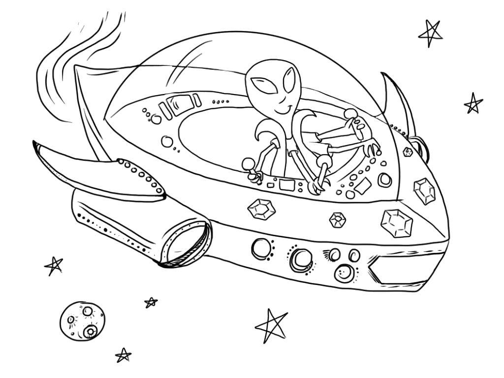 Coloring alien in space category spaceships tags space aliens stars