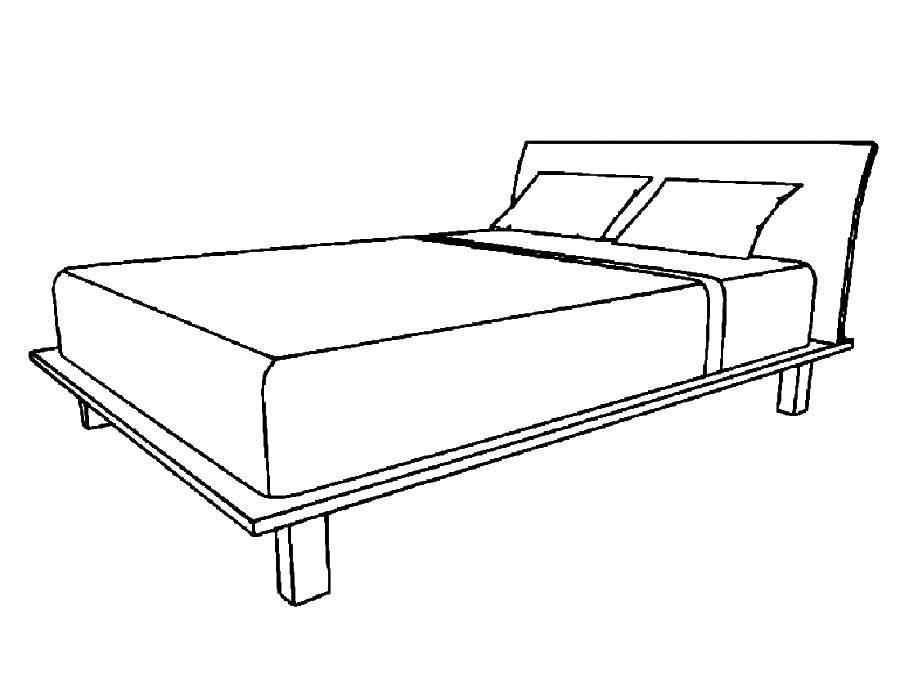 Раскраска Двуспальная кровать Скачать Мебель.  Распечатать ,Кровать,