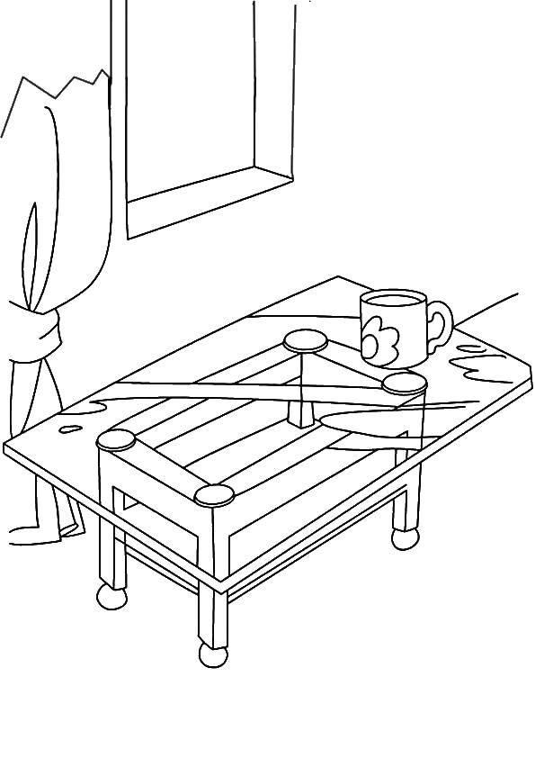 Раскраска Кофейный столик Скачать Мебель.  Распечатать ,мебель,