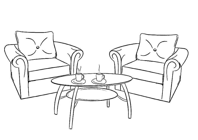 Раскраска Кресла и журнальный столик Скачать Мебель.  Распечатать ,мебель,