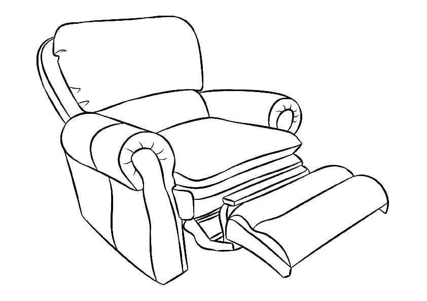 Раскраска Кресло Скачать Мебель.  Распечатать ,мебель,