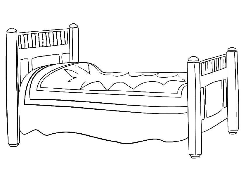 Раскраска Кровать Скачать Мебель.  Распечатать ,Кровать,