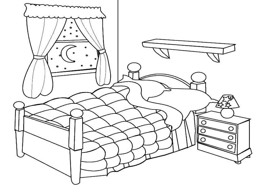 Раскраска Спальня Скачать Мебель.  Распечатать ,Кровать,