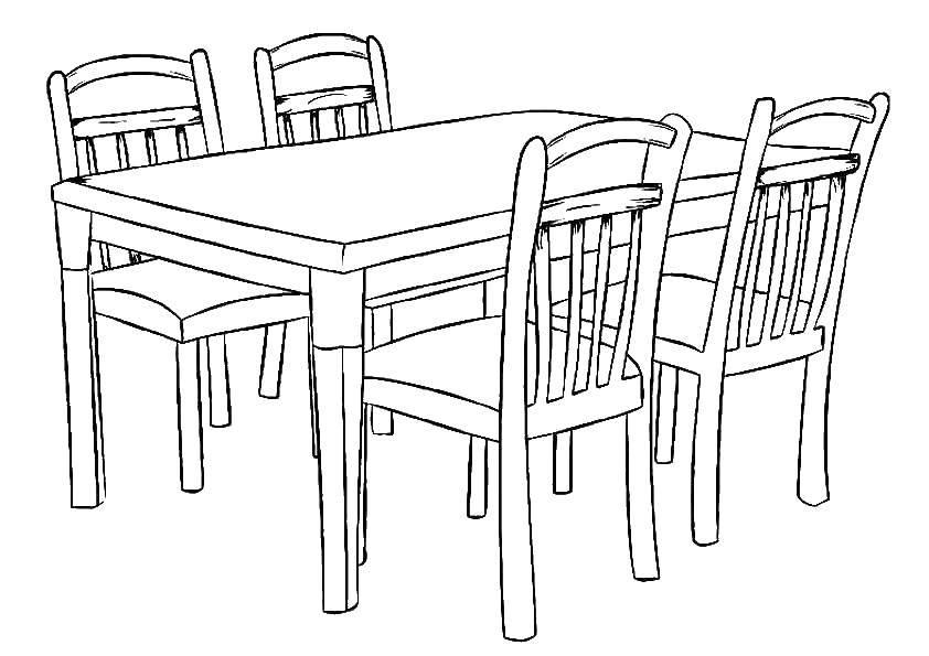 Раскраска Стол и стулья Скачать Мебель, стол, стул.  Распечатать ,мебель,
