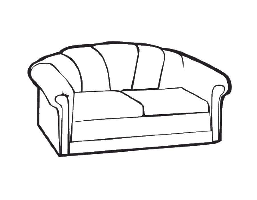 Раскраска Диванчик Скачать Мебель.  Распечатать ,мебель,