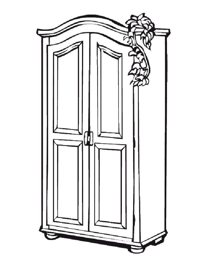 Раскраска Шкаф Скачать Мебель.  Распечатать ,мебель,