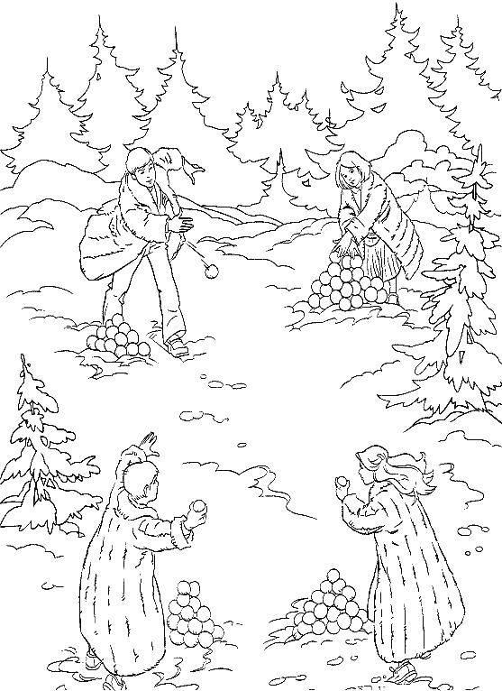 Раскраска Дети играют в снежки Скачать Хроники Нарнии, Лев, колдунья, волшебный шкаф.  Распечатать ,Хроники Нарнии,