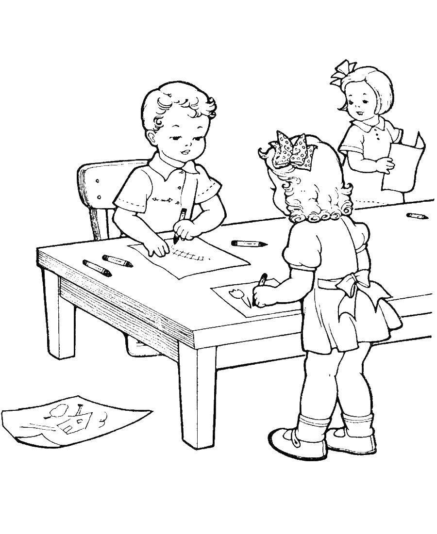 Раскраска Дети рисуют картинки Скачать дети, картина.  Распечатать ,школа,