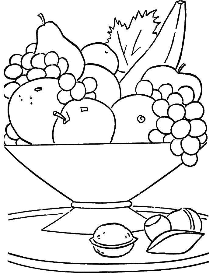 Раскраска Тарелка с фруктами Скачать фрукты, тарелка.  Распечатать ,супергерои,