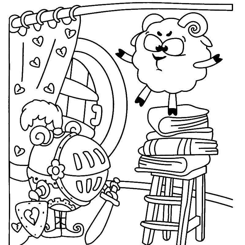 Раскраска Бараш стоит на стуле Скачать Смешарики, бараш.  Распечатать ,смешарики,