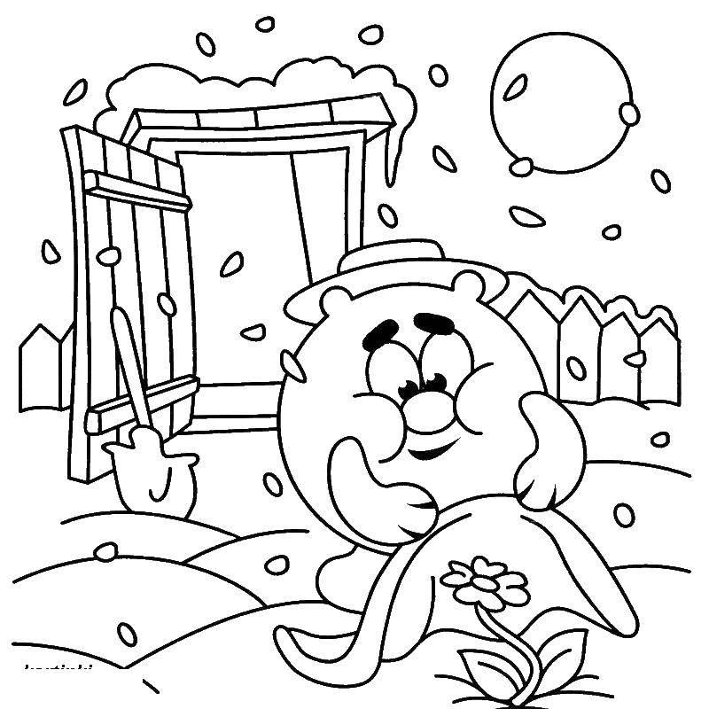 Раскраска Копатыч в огороде Скачать ,копатыч, смешарики,.  Распечатать