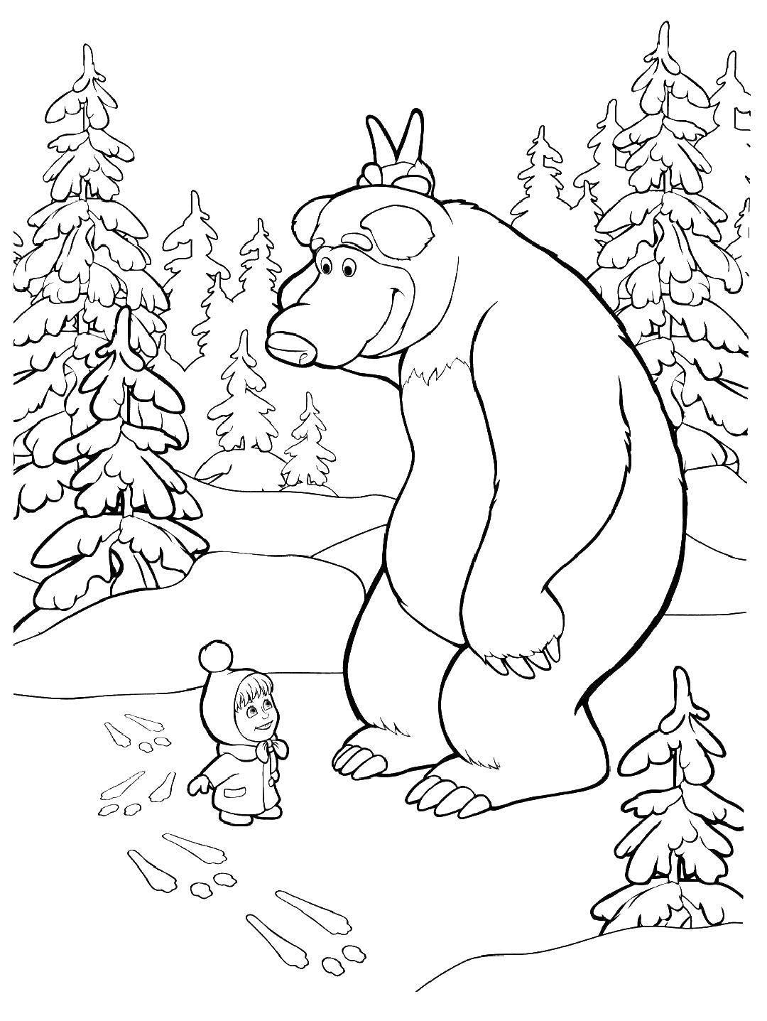 Раскраска Медведь показывает машезайчика Скачать Маша, Медведь.  Распечатать ,маша и медведь,