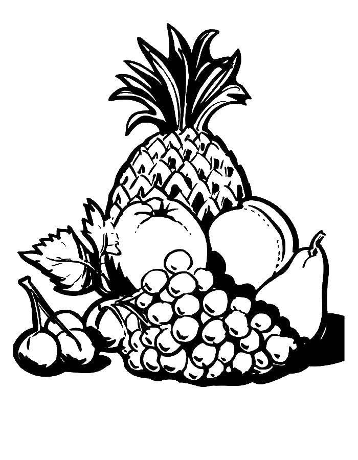 Раскраска Фрукты ананас яблоко груша персик виноград и черешня Скачать фрукты.  Распечатать ,супергерои,