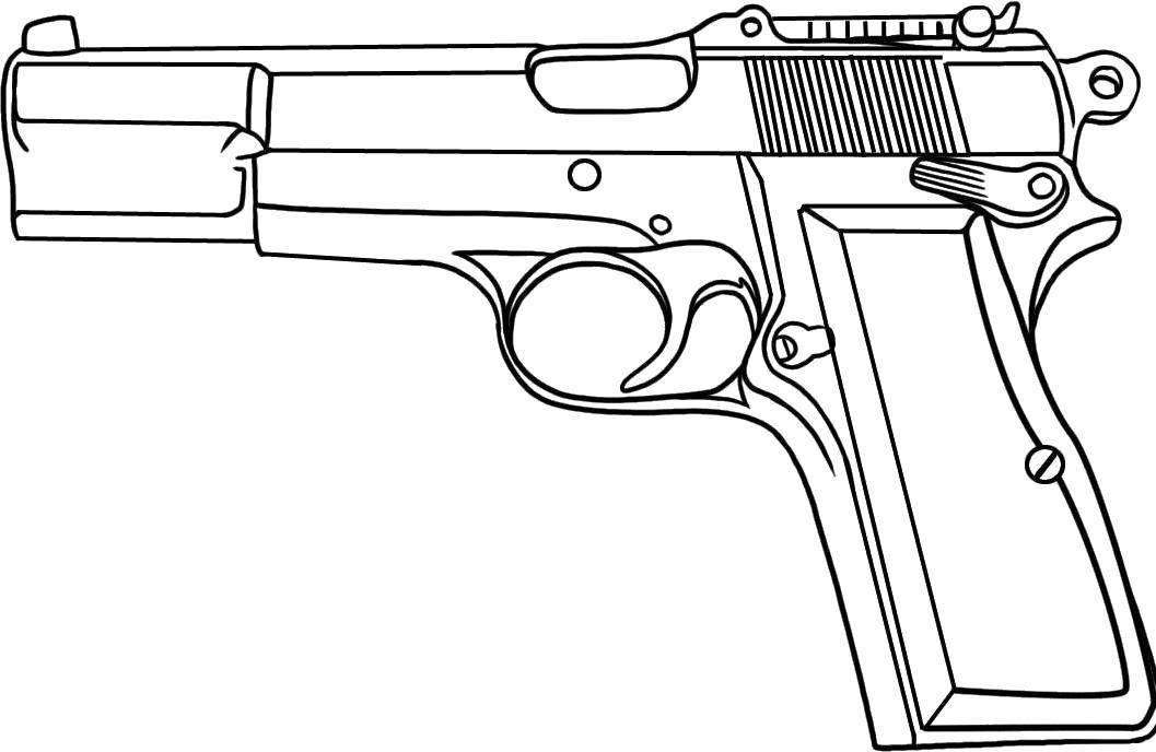 Раскраска пистолет Скачать мяч.  Распечатать ,спорт,