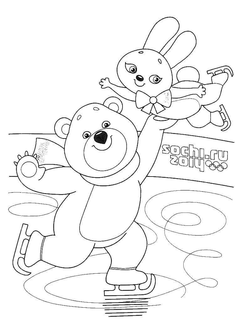 Раскраска Медведь и зайчик катаются на коньках Скачать медведь, заяц, коньки.  Распечатать ,олимпийские игры,