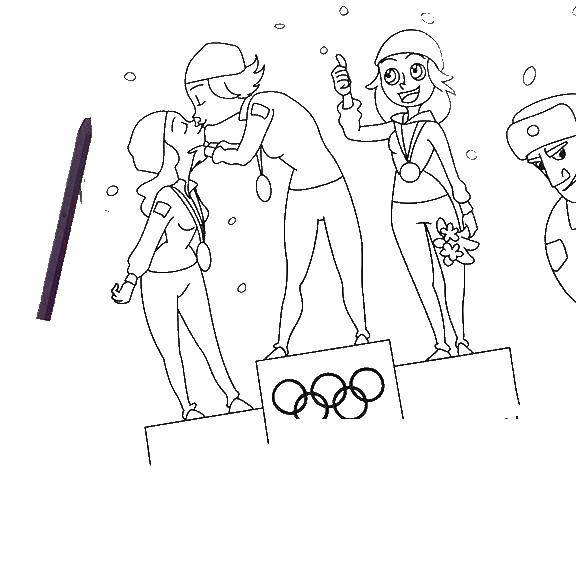 Раскраска Победители олимпийских игр Скачать победители, олимпийские игры.  Распечатать ,олимпийские игры,