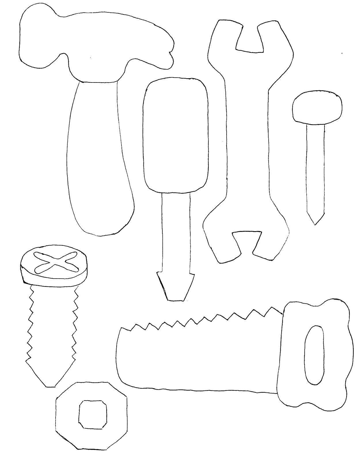 Раскраска Строительные инструменты Скачать Строитель, инструменты, стройка.  Распечатать ,молоток,